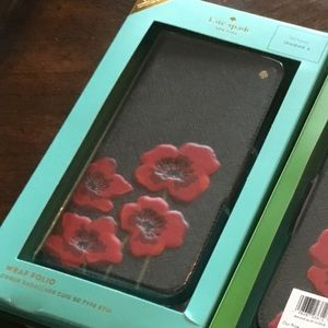 NWT in BOX KATE SPADE LG Poppies iPhoneX Folio